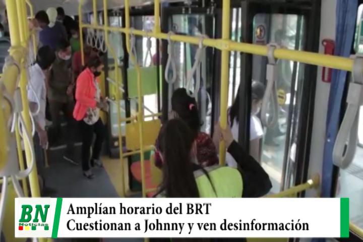 Municipio amplía horario de atención del BRT y cuestionan a Johnny Fernandez y ven desinformación
