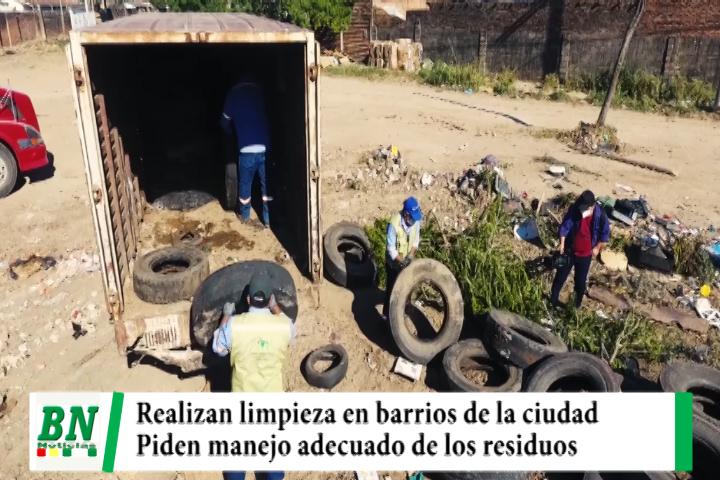 Emacruz realiza limpieza en los barrios y advierte con sanciones, pide manejo adecuado de residuos