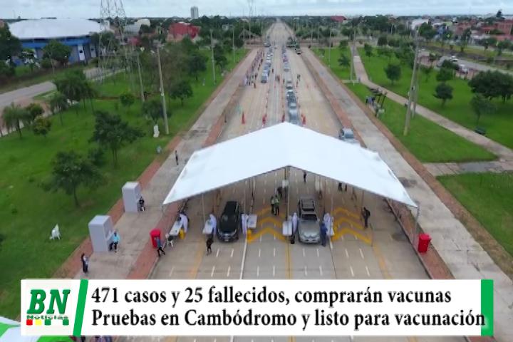 Alerta coronavirus, 471 y 25 fallecidos, comprarán 100 mil vacunas, Cambódromo toman pruebas gratis y alistan vacunación