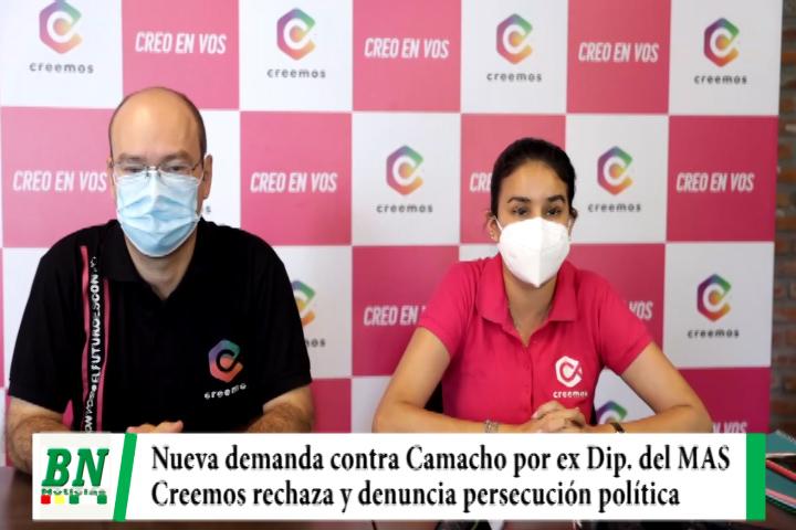 Campaña Creemos 2021, Ex diputada del MAS demanda a Camacho y denuncian persecución