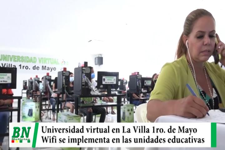 Municipio y la Gabriel implementan Universidad virtual en La Villa 1ro, de Mayo, Wifi gratuito a unidades educativas