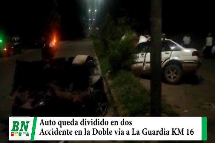 Accidente en La Doble vía a La Guardia deja dos personas heridas y un auto dividido en dos partes