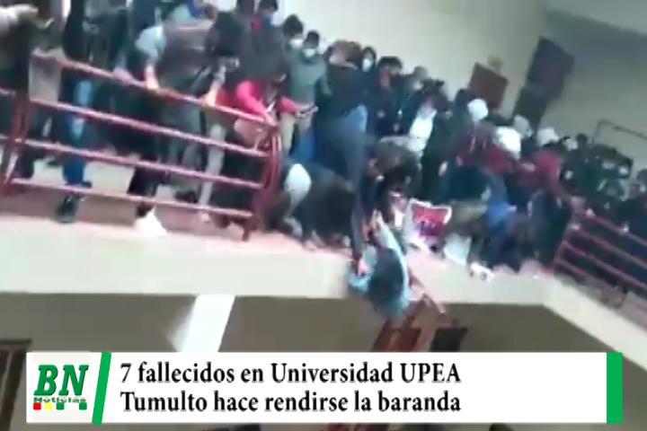 Baranda se rinde y universitarios caen del 4to, piso de la UPEA, 7 estudiantes fallecen