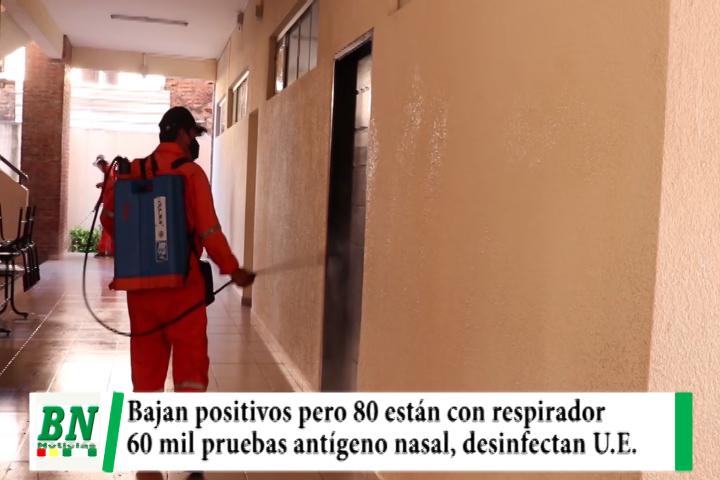 Alerta coronavirus, Bajan casos pero 80 están con respiradores, realizan 60 mil pruebas, desinfectan U.E.