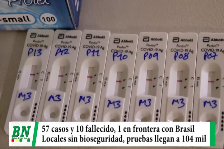 Alerta coronavirus, 57 contagios y 10 fallecidos y uno en la frontera, locales sin bioseguridad, pruebas a 104 mil vecinos