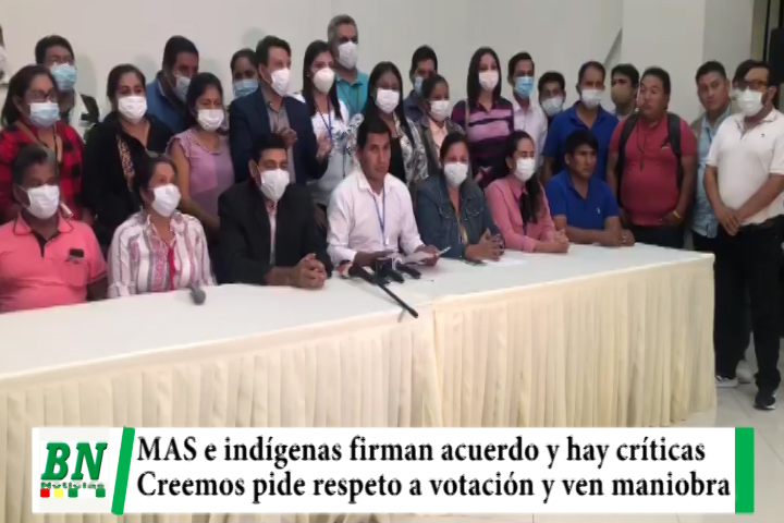 MAS firma pacto con indígenas y Creemos pide respeto al voto y ve maniobra contra gestión