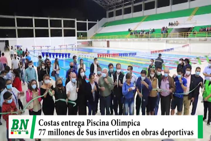 Gobernación entrega Piscina Olímpica y asegura invirtieron 77 millones de dólares en obras deportivas