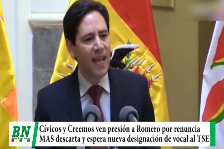 Presidente del TSE renuncia y Cívicos con Creemos ven presión del Gobierno, MAS descarta injerencia