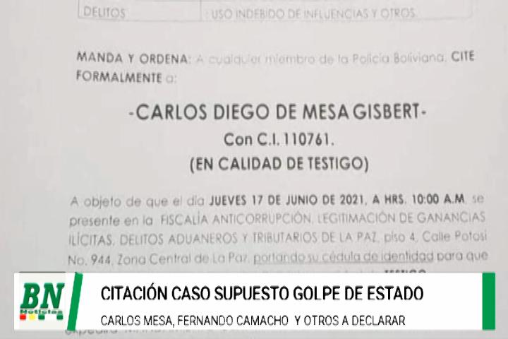 Fiscalia cita a Carlos Mesa en el caso de supuesto golpe de estado y ampliará a Camacho y otros