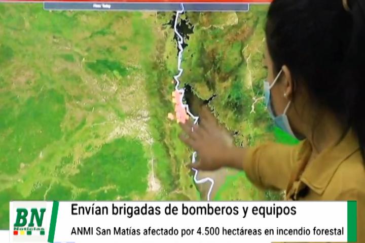 Envían bomberos y equipos a ANMI San Matías para controlar el incendio forestal en la zona