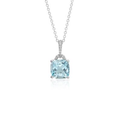 Aquamarine Cushion And Diamond Pendant In 14k White Gold