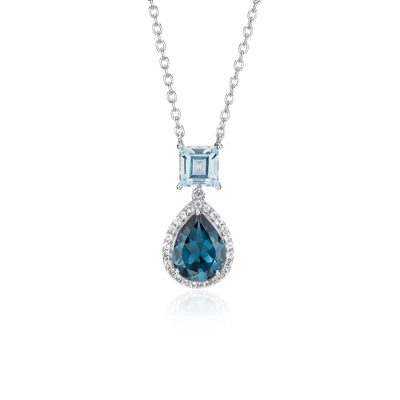 Blue Topaz And London Blue Topaz Teardrop Pendant In
