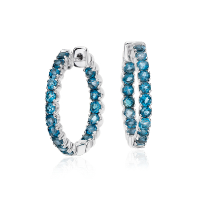 London Blue Topaz Hoop Earrings In Sterling Silver 25mm