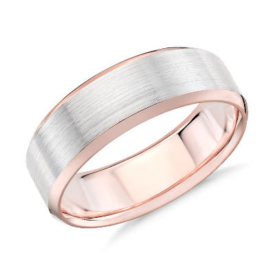 Brushed Beveled Edge Wedding Ring In 14k White And Rose