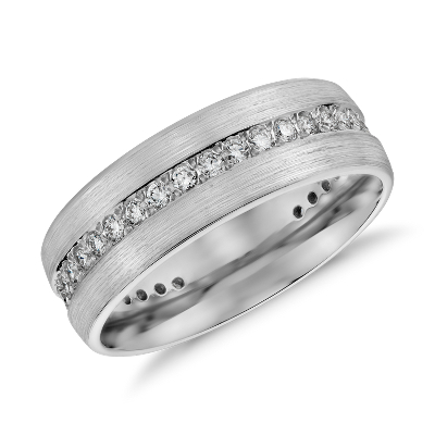 Brushed Diamond Eternity Mens Wedding Ring In 14k White
