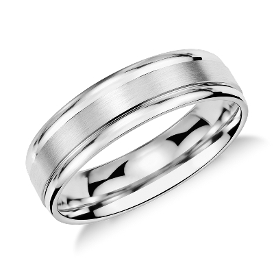 Brushed Inlay Wedding Ring In Platinum 6mm Blue Nile