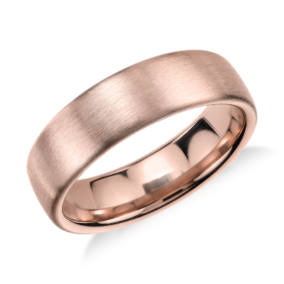 Matte Modern Comfort Fit Wedding Ring In 14k Rose Gold 5