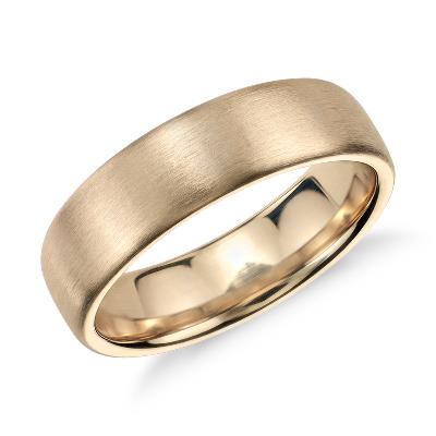 Matte Modern Comfort Fit Wedding Ring In 14k Yellow Gold