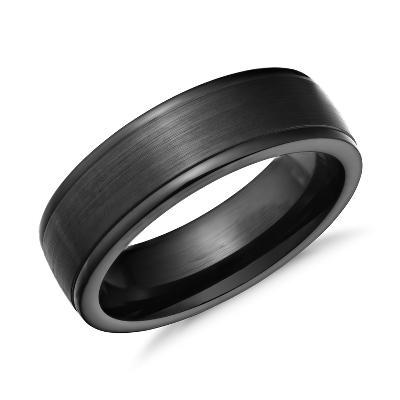 satin finish wedding ring in blackened cobalt 7mm