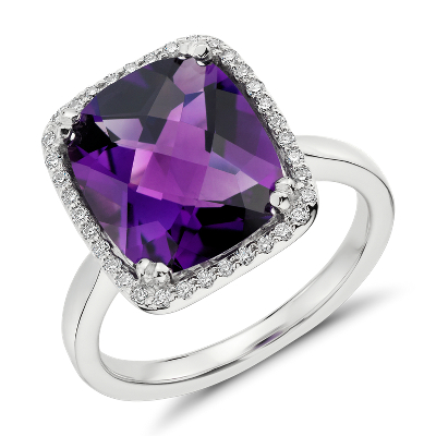 Amethyst And Diamond Halo Cushion Cut Ring In 14k White Gold Blue Nile