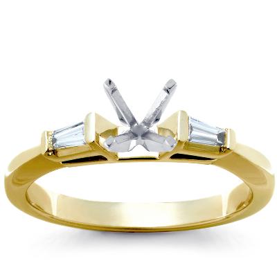 Trio Princess Cut Pav Diamond Engagement Ring In 14k