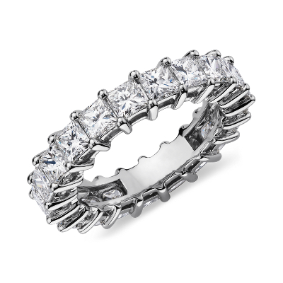 Princess Cut Diamond Eternity Ring In Platinum 4 Ct Tw
