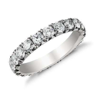 French Pav Diamond Eternity Ring In Platinum 2 Ct Tw