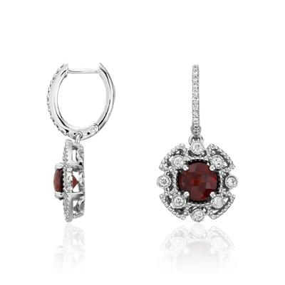 Garnet And Diamond Drop Earrings In 14k White Gold Blue Nile