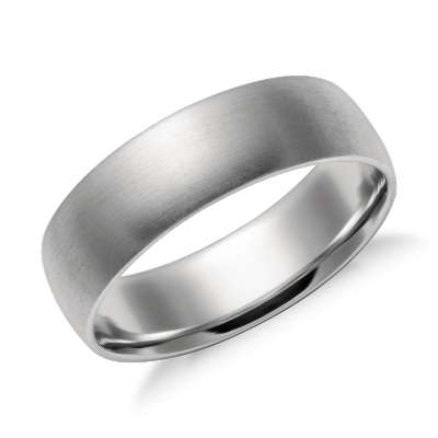 matte mid weight comfort fit wedding band in platinum 6mm