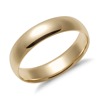 Mid Weight Comfort Fit Wedding Band In 14k Yellow Gold