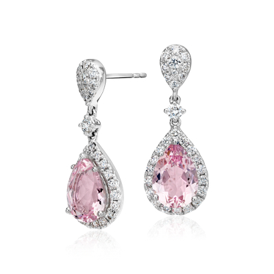 Morganite And Diamond Halo Drop Earrings In 18k White Gold