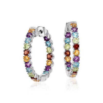 Multicolored Gemstone Hoop Earrings In Sterling Silver 2