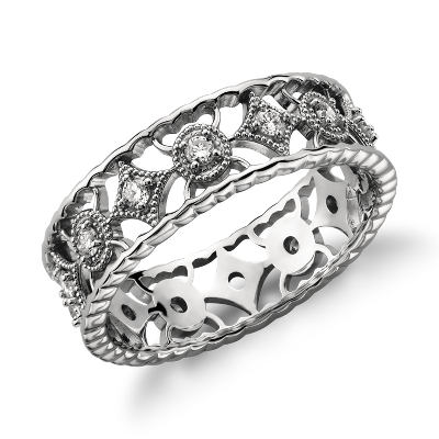 Open Filigree Diamond Eternity Ring In Platinum 13 Ct