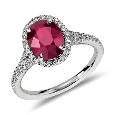 Oval Ruby And Diamond Halo Ring In Platinum Blue Nile