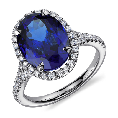 Oval Tanzanite And Diamond Ring In 18k White Gold 6 72 Ct Center Blue Nile