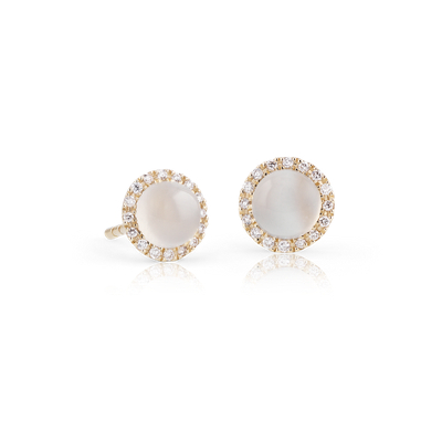 Petite White Moonstone Cabochon Earrings With Diamond Halo In 14k Yellow Gold 5mm Blue Nile