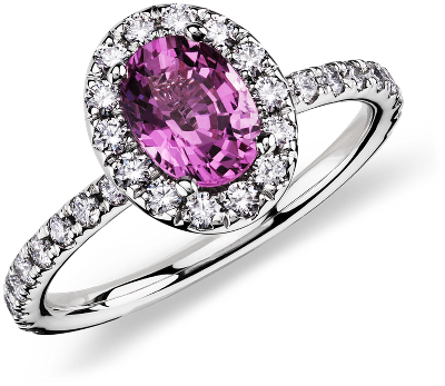 Pink Sapphire And Diamond Ring In 18k White Gold 7x5 Mm