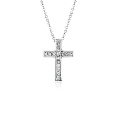 Princess Cut Diamond Cross Pendant In 18k White Gold 12