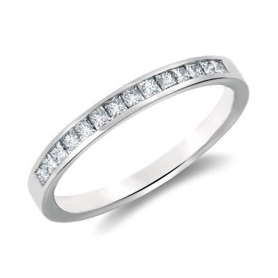 Channel Set Princess Cut Diamond Ring In Platinum 13 Ct