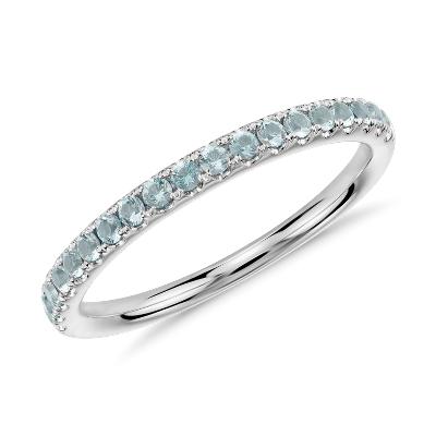 Riviera Pav Aquamarine Ring In 14k White Gold 15mm
