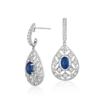 Sapphire Cabochon And Diamond Dangle Earrings In 18k White