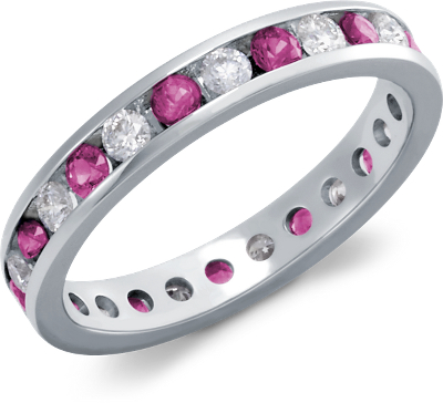Channel Set Diamond And Pink Sapphire Eternity Ring In 18k