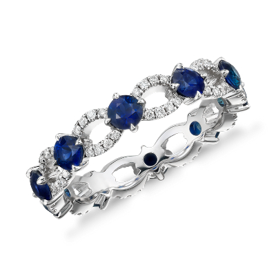 Sapphire And Diamond Ellipse Eternity Ring In 18k White