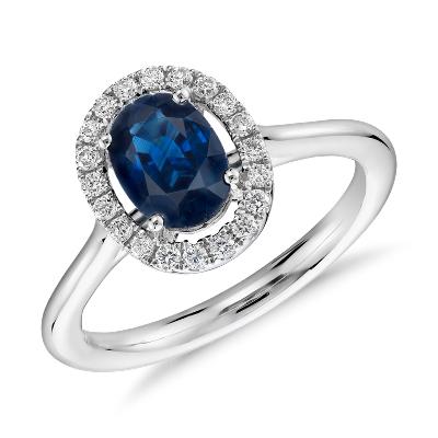 Floating Oval Sapphire And Diamond Micropav Diamond Halo