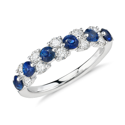 Sapphire And Diamond Garland Ring In 18k White Gold 1 2 Ct Tw Blue Nile