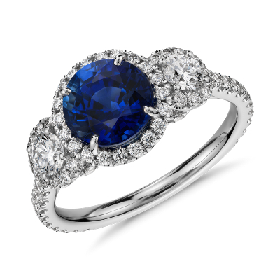 Sapphire And Diamond Halo Three Stone Ring In 18k White Gold 2 Ct Center Blue Nile