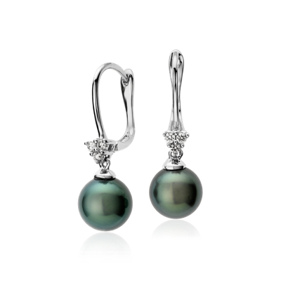 Tahitian Cultured Pearl And Diamond Cluster Drop Earrings