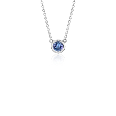 Tanzanite Bezel Necklace In 14k White Gold 5mm Blue Nile