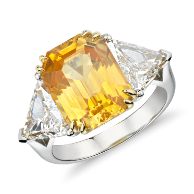 Yellow Sapphire And Diamond Three Stone Ring In Platinum