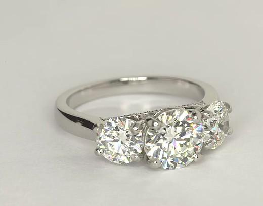 Three Stone Pav 233 Gallery Diamond Engagement Ring In Platinum Blue Nile